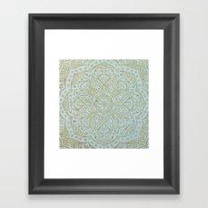 Gold Mandala on Light Blue Jeans Framed Art Print