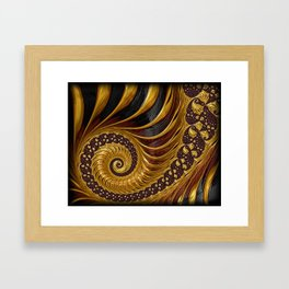Gold Metallic Swirling Conch Shell Fractal Design Framed Art Print