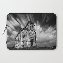 Abandoned Chapel under stars and streaks of clouds, Ukraine black and white photograph - photography Laptop Sleeve