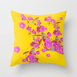 Pink Morning Glories on Gold Art Design Throw Pillow