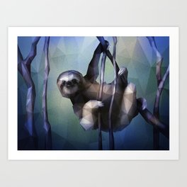 Sloth (Low Poly Cool) Art Print
