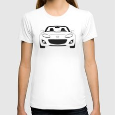 NC Miata/MX-5 White LARGE Womens Fitted Tee