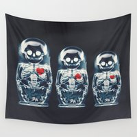 ali gulec Wall Tapestries featuring Nesting Doll X-Ray by Ali GULEC