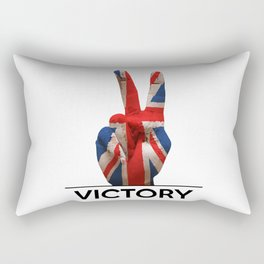 Hand making the V sign united kingdom country flag painted Rectangular Pillow