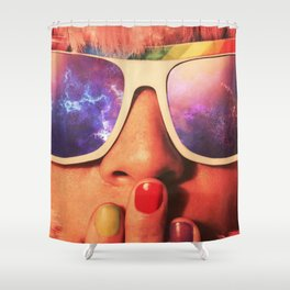 Nebula Girl Shower Curtain