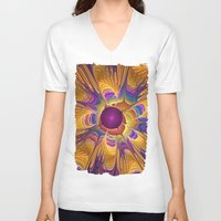 fireflies V-neck T-shirts featuring Dance of the Fireflies by thea walstra