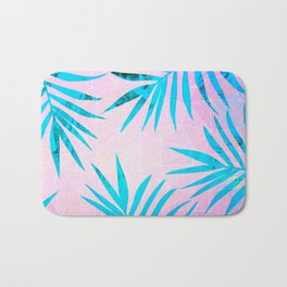 Refreshing Geometric Palm Tree Leaves Tropical Chill Design Bath Mat