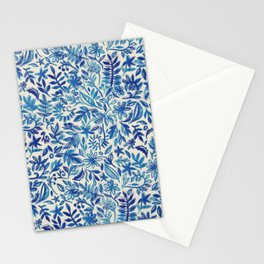 Floating Garden - a watercolor pattern in blue Stationery Cards