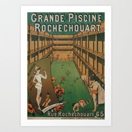 Grande Piscine Rochechouart - French Vintage Advertising Poster Art Print