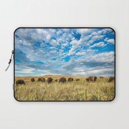 Grazing - Bison Graze Under Big Sky on Oklahoma Prairie Laptop Sleeve