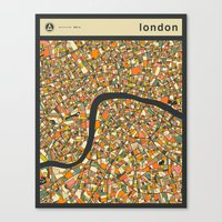 london map Canvas Prints featuring LONDON MAP by Jazzberry Blue