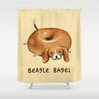 beagle Shower Curtains featuring Beagle Bagel by Sophie Corrigan