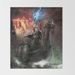 Dragon Viking Ship Throw Blanket