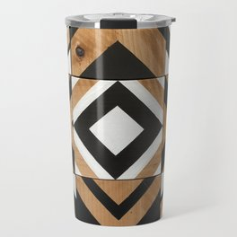 Modern Wood Art, Black and White Chevron Pattern Travel Mug