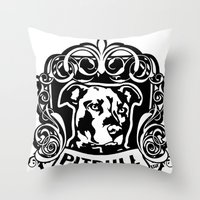 pitbull Throw Pillows featuring pitbull inside by LGT logout graphix design