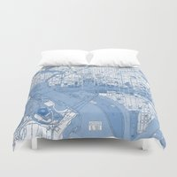 washington dc Duvet Covers featuring Washington DC Map by Color and Form