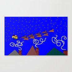 Santa and His 9 Tiny Reindeer Canvas Print
