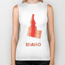 Idaho map outline Burnt sienna watercolor Biker Tank