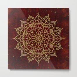 Deep Red & Gold Mandala Metal Print