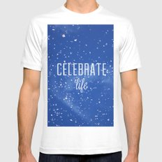 Celebrate life White MEDIUM Mens Fitted Tee