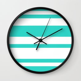 Mixed Horizontal Stripes - White and Turquoise Wall Clock