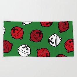 Jingle Bells Christmas Pattern in Red, White & Green Beach Towel