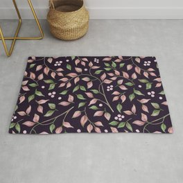 Pink blush and green foliage pattern on purple plum dark indigo Rug