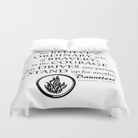 divergent Duvet Covers featuring Dauntless Black Lettering by Covered By Design