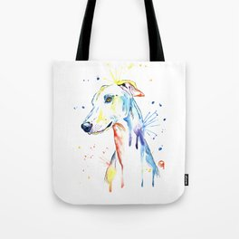 Greyhound Colorful Watercolor Pet Portrait Painting Tote Bag