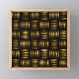 Golden Chocolate Brown Weave Framed Mini Art Print