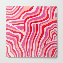pink zebra stripes Metal Print