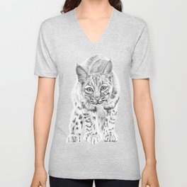 On the Prowl :: A Young Bobcat Unisex V-Neck