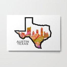 Texas State Map with Austin Skyline Metal Print
