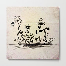 Flowers on old paper Metal Print