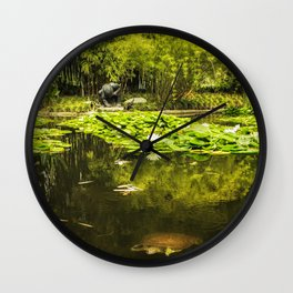 Turtle in a Lily Pond Wall Clock