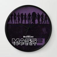 mass effect Wall Clocks featuring Mass Effect 2 by Bill Pyle