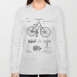 Bicycle Patent - Cyclling Art - Black And White Long Sleeve T-shirt