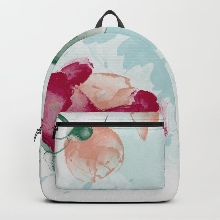 Watercolor Roses Painting Backpack