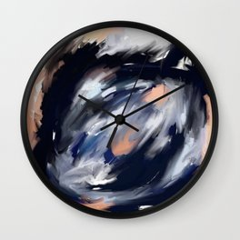 storm's eye - an abstract painting in peach, blue, white and black. Wall Clock