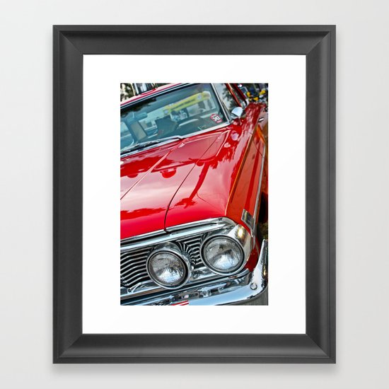 Red Ford Custom 500 Galaxie Police Car Framed Art Print