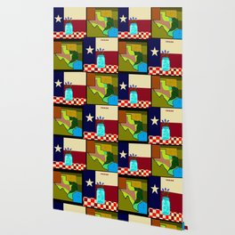 A Texas Quilt, State Flag and Blue Bonnets Wallpaper