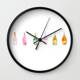 Champagne Bottles Watercolor Wall Clock