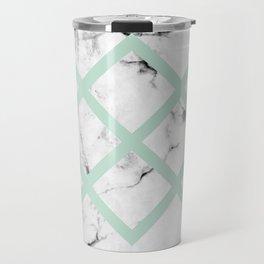 White Marble Concrete Look Mint Green Geometric Squares Travel Mug