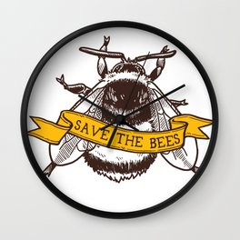 Save The Bees! (Bumblebee) Wall Clock