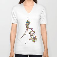 philippines V-neck T-shirts featuring 7,107 Islands | A Map of the Philippines by QUEQZZ