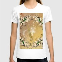 saxophone T-shirts featuring Saxophone with flowers by nicky2342