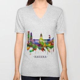 Havana Cuba Skyline Unisex V-Neck