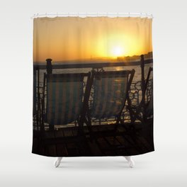 Sunset from Brighton Pier Shower Curtain