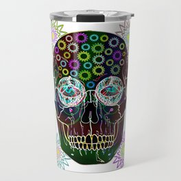 skull neon flowers Travel Mug