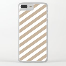 Pantone Hazelnut & White Stripes Fat Angled Lines - Stripe Pattern Clear iPhone Case